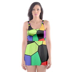 Stained Glass Abstract Background Skater Dress Swimsuit