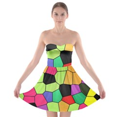 Stained Glass Abstract Background Strapless Bra Top Dress