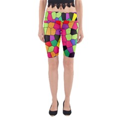 Stained Glass Abstract Background Yoga Cropped Leggings