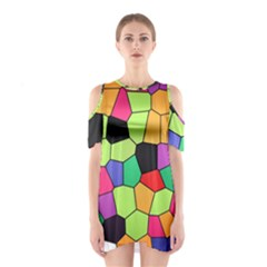 Stained Glass Abstract Background Cutout Shoulder Dress