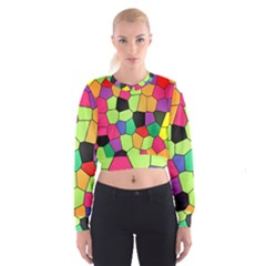 Stained Glass Abstract Background Women s Cropped Sweatshirt