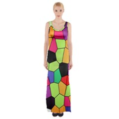 Stained Glass Abstract Background Maxi Thigh Split Dress