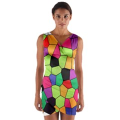 Stained Glass Abstract Background Wrap Front Bodycon Dress