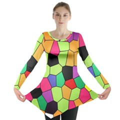 Stained Glass Abstract Background Long Sleeve Tunic