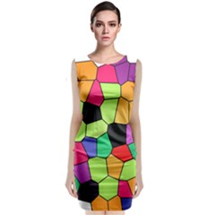Stained Glass Abstract Background Classic Sleeveless Midi Dress