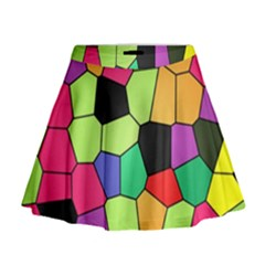 Stained Glass Abstract Background Mini Flare Skirt