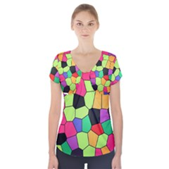 Stained Glass Abstract Background Short Sleeve Front Detail Top