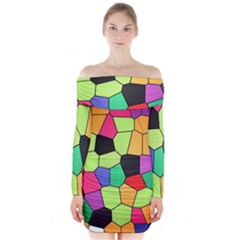 Stained Glass Abstract Background Long Sleeve Off Shoulder Dress