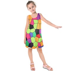 Stained Glass Abstract Background Kids  Sleeveless Dress
