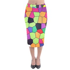 Stained Glass Abstract Background Velvet Midi Pencil Skirt