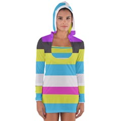 Bigender Flag Women s Long Sleeve Hooded T-shirt
