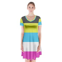 Bigender Flag Short Sleeve V-neck Flare Dress