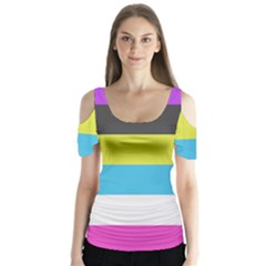 Bigender Flag Butterfly Sleeve Cutout Tee