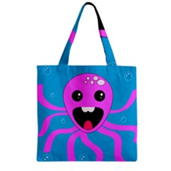Bubble Octopus Zipper Grocery Tote Bag