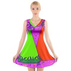 Birthday Hat Party V-Neck Sleeveless Skater Dress