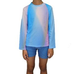 Twist Blue Pink Mauve Background Kids  Long Sleeve Swimwear
