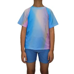 Twist Blue Pink Mauve Background Kids  Short Sleeve Swimwear