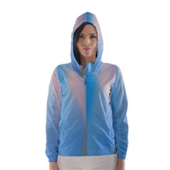 Twist Blue Pink Mauve Background Hooded Wind Breaker (Women)