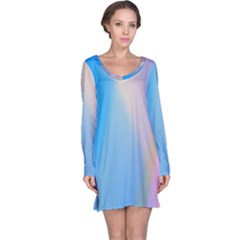 Twist Blue Pink Mauve Background Long Sleeve Nightdress