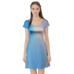 Twist Blue Pink Mauve Background Short Sleeve Skater Dress