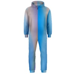 Twist Blue Pink Mauve Background Hooded Jumpsuit (Men)