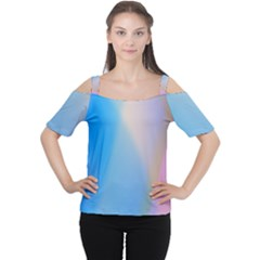 Twist Blue Pink Mauve Background Women s Cutout Shoulder Tee