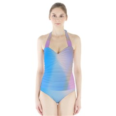Twist Blue Pink Mauve Background Halter Swimsuit