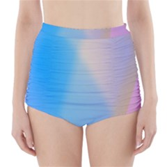 Twist Blue Pink Mauve Background High-Waisted Bikini Bottoms