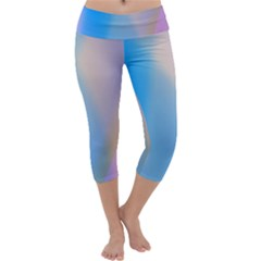 Twist Blue Pink Mauve Background Capri Yoga Leggings