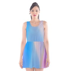 Twist Blue Pink Mauve Background Scoop Neck Skater Dress