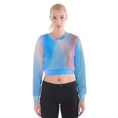 Twist Blue Pink Mauve Background Women s Cropped Sweatshirt