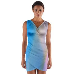 Twist Blue Pink Mauve Background Wrap Front Bodycon Dress