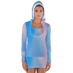 Twist Blue Pink Mauve Background Women s Long Sleeve Hooded T-shirt