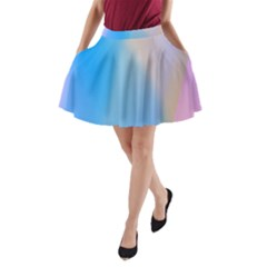 Twist Blue Pink Mauve Background A-Line Pocket Skirt