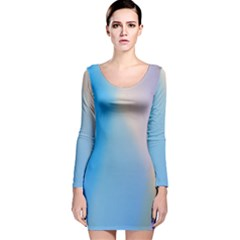 Twist Blue Pink Mauve Background Long Sleeve Velvet Bodycon Dress