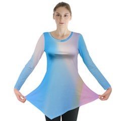 Twist Blue Pink Mauve Background Long Sleeve Tunic