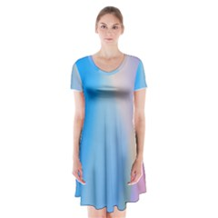 Twist Blue Pink Mauve Background Short Sleeve V-neck Flare Dress