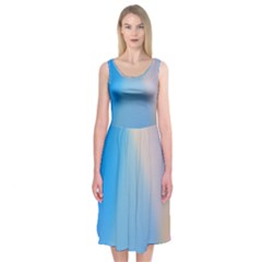 Twist Blue Pink Mauve Background Midi Sleeveless Dress