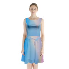 Twist Blue Pink Mauve Background Sleeveless Chiffon Waist Tie Dress