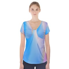 Twist Blue Pink Mauve Background Short Sleeve Front Detail Top