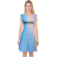 Twist Blue Pink Mauve Background Capsleeve Midi Dress
