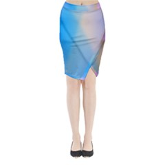 Twist Blue Pink Mauve Background Midi Wrap Pencil Skirt