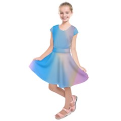 Twist Blue Pink Mauve Background Kids  Short Sleeve Dress