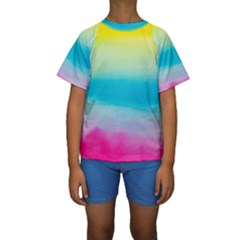 Watercolour Gradient Kids  Short Sleeve Swimwear