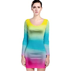Watercolour Gradient Long Sleeve Bodycon Dress