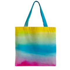 Watercolour Gradient Zipper Grocery Tote Bag
