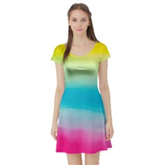 Watercolour Gradient Short Sleeve Skater Dress