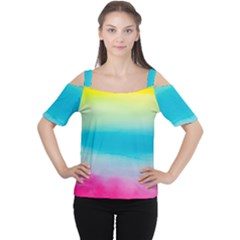 Watercolour Gradient Women s Cutout Shoulder Tee