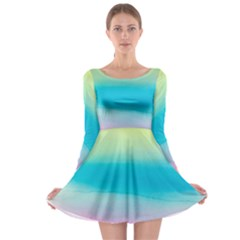 Watercolour Gradient Long Sleeve Skater Dress