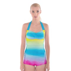 Watercolour Gradient Boyleg Halter Swimsuit